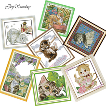 Cat Cross Stitch Kit Joy Sunday DMC 11CT 14CT Teacup Stamped Needlework Kits Water Soluble Canvas DIY Embroidery