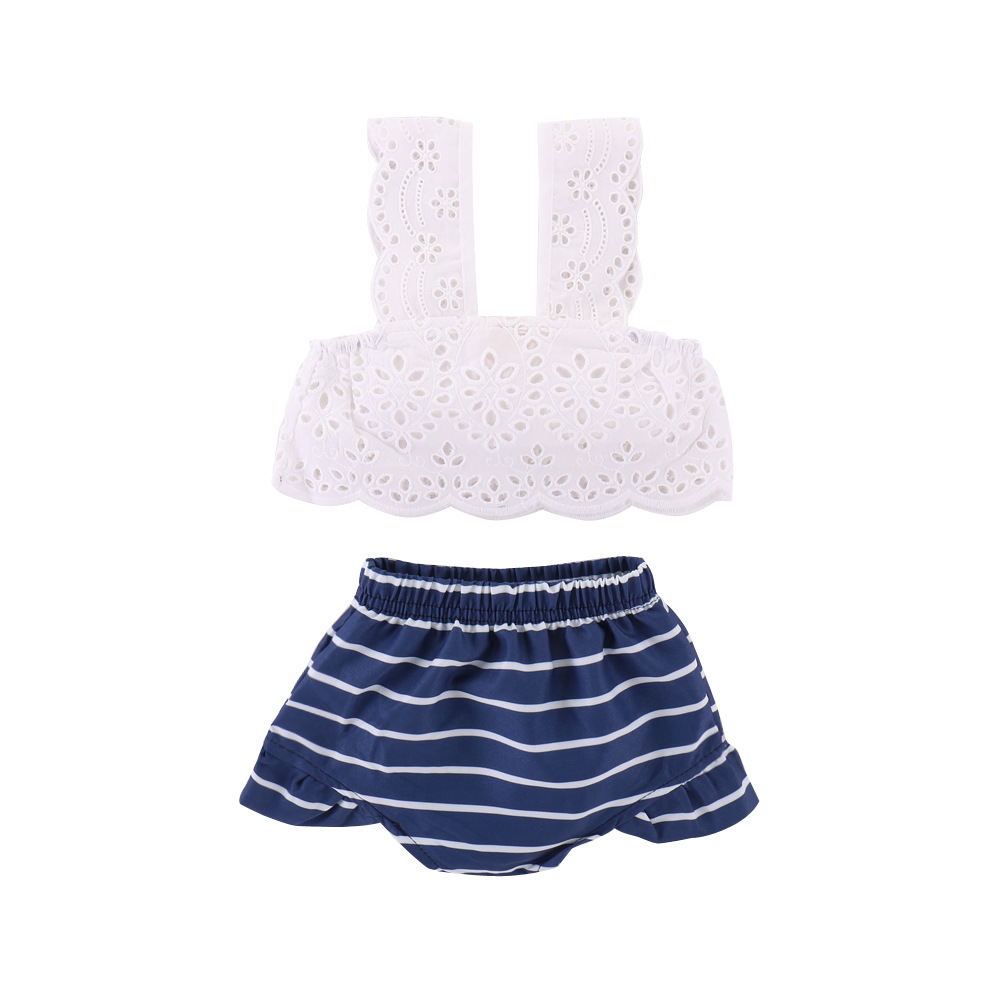 2018 Baby Clothes Set Summer Girls Sleeveless Lace Vest+Stripe Shorts GirlS Baby Clothes Baby Girl Summer Newborn Outfit