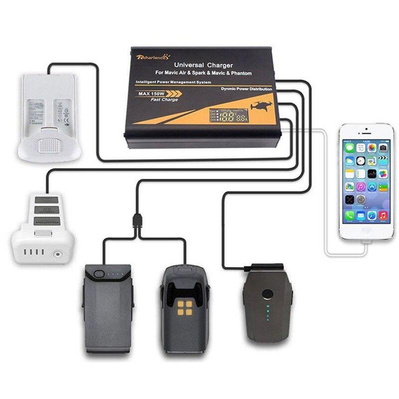 STARTRC DJI Mavic Air Mavic Pro DJI Spark Accessories Phantom Universal Intelligent Charger Charging Drone Battery Cell Phone dji spark drone 3 in 1 car charger battery charging