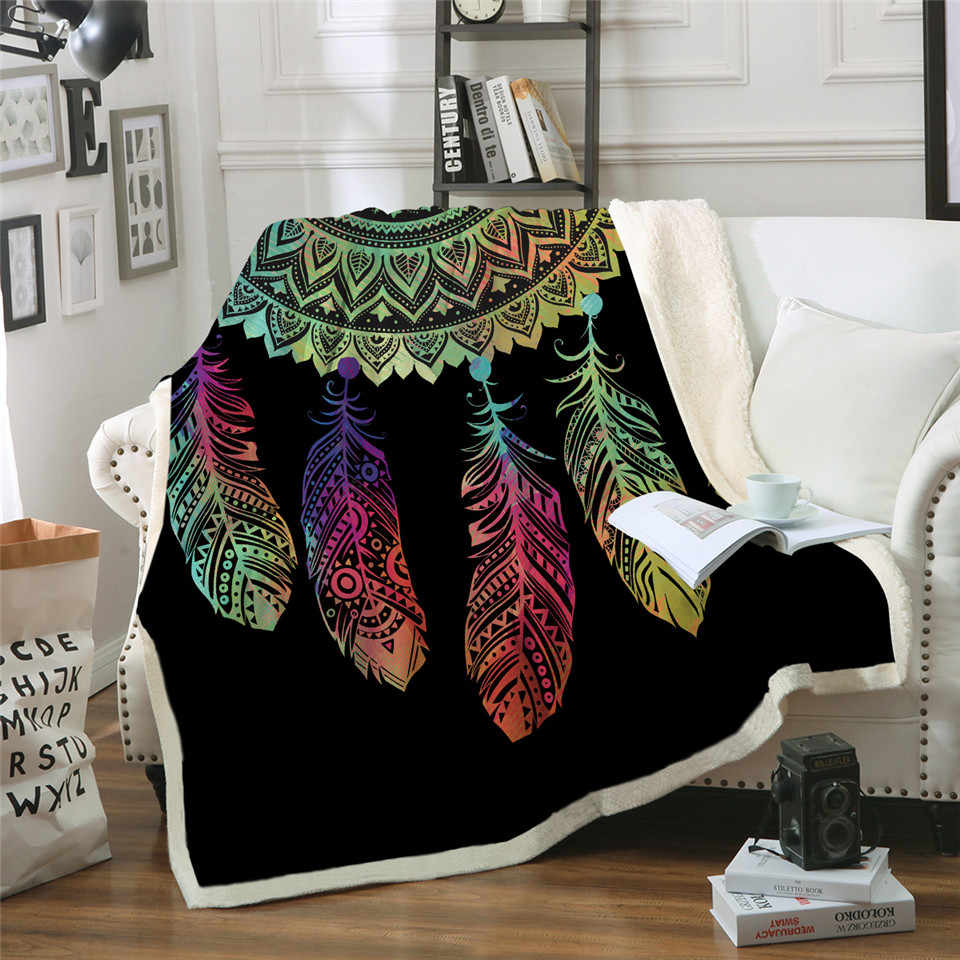 New Dreamcatcher Sherpa Throw Blanket Bohemian Mandala Sherpa Fleece Blanket on the Bed Sofa Colorful Plaid Bedspread