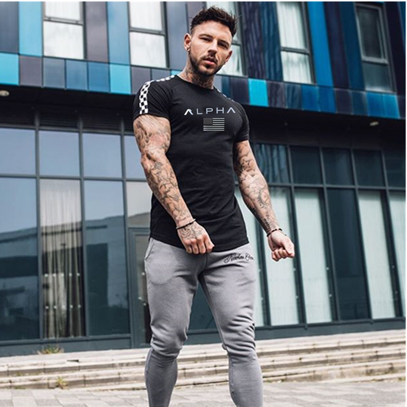 HTB1z68eL3HqK1RjSZFkq6x.WFXai 2019 Fashion stitching T Shirt Men Cotton Breathable Mens Short Sleeve Fitness t shirt Crossfit Gyms Tee Tight Casual Summer Top