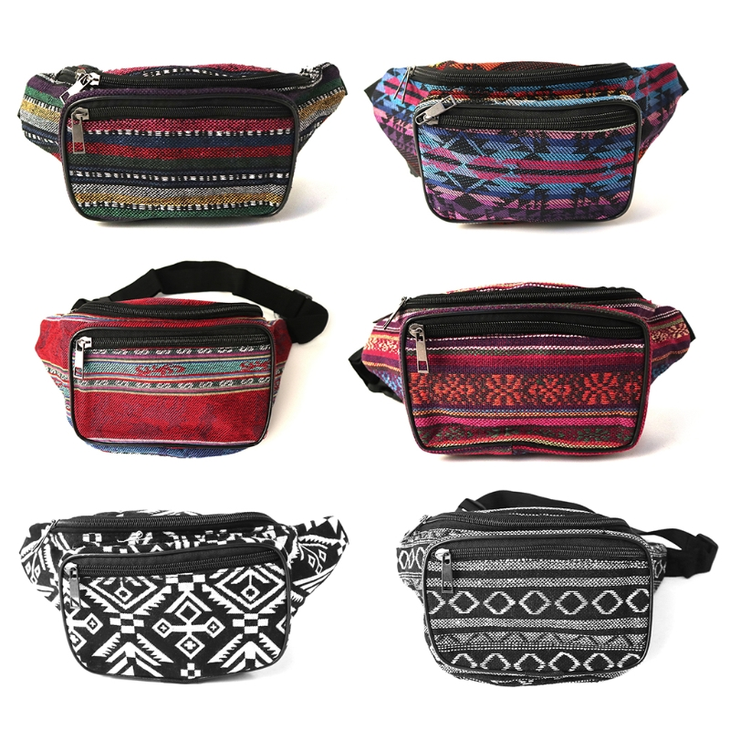 Fanny Pack Stripe 80s Waist Bags Iridescent Woven Tribal Print Waist Pack For Travel,Rave Party,Trip,Festival