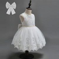 Vintage Flower Girls Dresses Children Party Ceremonies Clothing Princess Baby Girl Wedding Dress Birthday Big Bow
