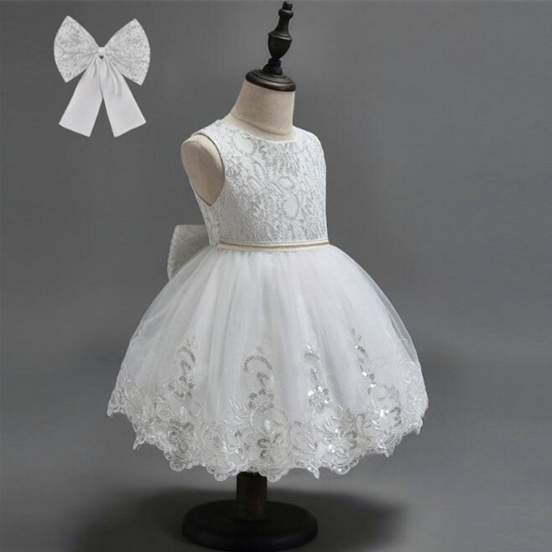 Vintage Flower Girls Dresses Children Party Ceremonies Clothing Princess Baby Girl Wedding Dress Birthday Big Bow Christening summer 2017 new girl dress baby princess dresses flower girls dresses for party and wedding kids children clothing 4 6 8 10 year