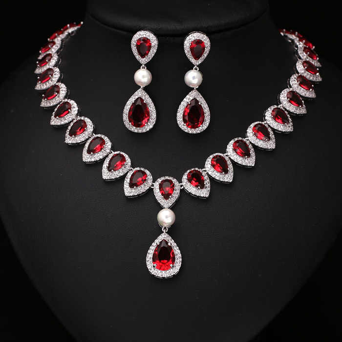 Fashion Green Arrow Heart Pearl bridal Jewelry Sets For Wedding  Necklace earring for woman
