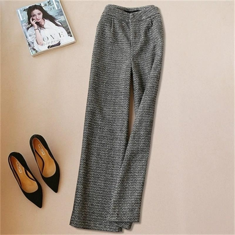 Fashion casual pant female spring fall Large size New High end Herringbone pattern wide leg pants women long pants Mujer