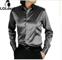 Loldeal promption long sleeve casual loose silk men shirt thin plus size plus size male wedding dress shirts solid 21 color