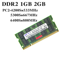 Laptop memory for Samsung DDR2 1GB 2GB 512MB 533 667 800 MHz PC2-5300 4200 6400 Original authentic DDR 2 1G notebook RAM 200PIN