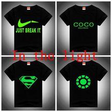 2016 NEW Children t shirts 100% Cotton Summer Tees Baby Boys&Girls Super Man Letter New Brand Top Party Club Night Light T-shirt