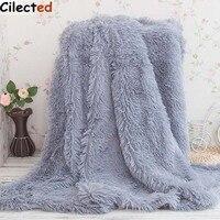 Cilected Super Soft Imitation Wool Fur Travel Bed Blanket Plush Fleece Winter Elegant Cozy Bedspread On Bed Plaid Fuffy Blanket