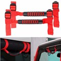 2Pcs Red Thin Roll Bar Grab Handles Grip Holder For Jeep/Wrangler JK All Year Ultimate Car Grabs