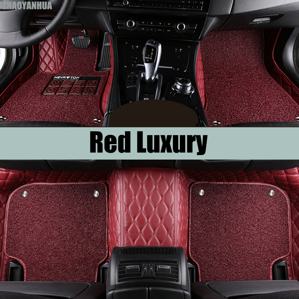 ZHAOYANHUA Car floor mats for Hyundai Santa Fe ix35 Tucson Elantra Sonata Verna Accent Solaris 5D car-styling carpet liners custom fit car floor leather mats anti skid for hyundai ix35 ix25 elantra santa fe sonata tucson accent 3d car styling liner