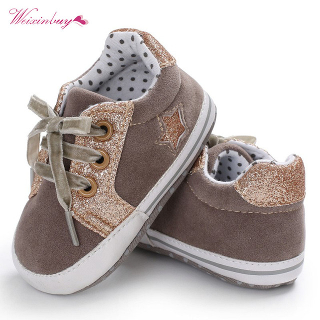 Fashion Baby Boy Shoes Sequin Heart Star Print First Walkers Pu