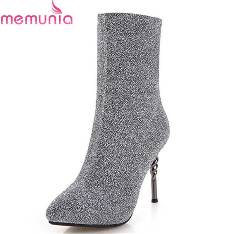 MEMUNIA 2018 new fashion sock boots pointed toe sexy stiletto heels female shoes slip on elegant ankle boots for women wine red