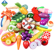 Toywoo Cutting Toys Kitchen Food Toys Fruit Fish Vegetable Blocks Children Lovely Wooden Toys Play House