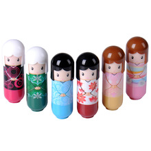 1PCS Cute Cartoon Kimono Doll Lip Balm Fruit Nature Lip Nourishing Moisturizing Repair Makeup Lipstick For