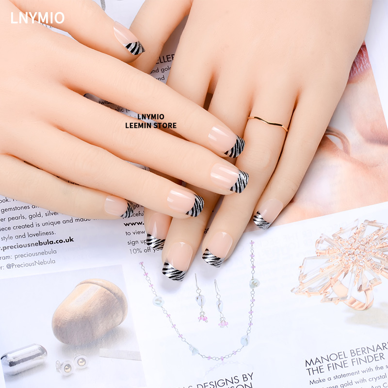 French manicure nails classic black and sliver powder line press on ...