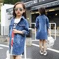 Kids Girls Denim Jacket Children Girls Jackets and Coats Autumn 2016 New Girls Outwear Jeans Jacket Kids Long Denim Shirt Fall