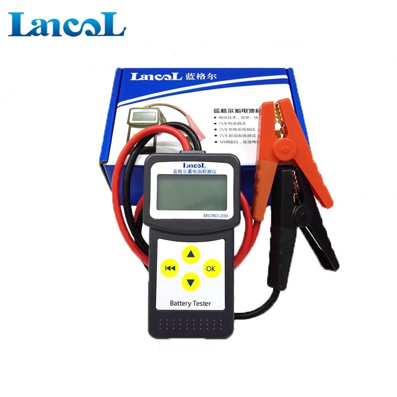 Professional diagnostic tool Lancol Micro 200 Car Vehicle BatteryTester Analyzer 12v  cca battery system tester USB for Printing op com car vehicle diagnostic tool black