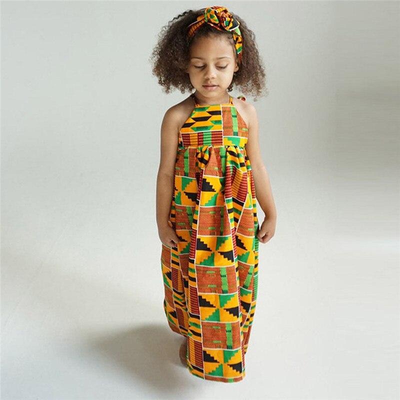 Toddler Baby Girls African Print Off Shoulder Hair Band Princess Casual Dress vestido robe fille  #4j12 (11)