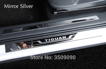 Для VW Tiguan 2016 2017 2018 2019 MK2 Автомобильная Накладка на порог Накладка Добро пожаловать педаль Стайлинг Украшение Наклейка полоски защита