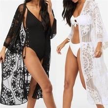 Women Cardigan Fashion Sexy Sheer Lace Beach Bikini Kimono Cover up