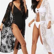 купить Women Cardigan Fashion Sexy Sheer Lace Beach Bikini Kimono Cover up онлайн