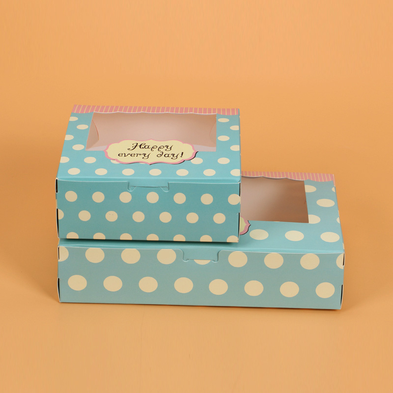 10/20pcs gift paper box with window for wedding kids dot green kraft Paper cake food packaging sweety candy cookies supplier