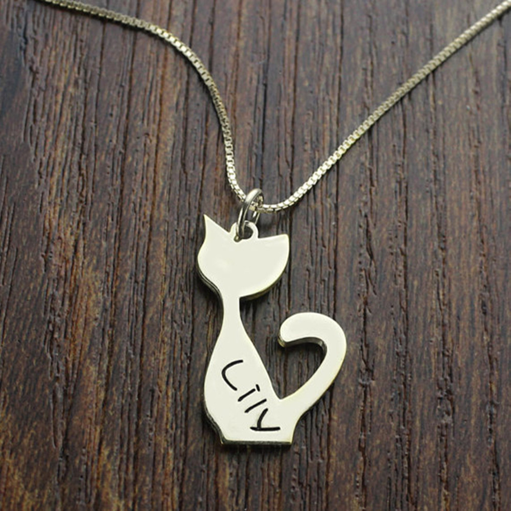 Personalized Engraved Name Cat Necklece,Fashion New Jewelry Custom Name Pendant Necklace ...