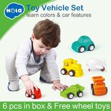 Купить с кэшбэком 6PCS/Lot HUILE TOYS 3117 Baby Toys Great Pull Back Car Candy Color Wheels Mini Car Train Plane Model Toys for Children Boys