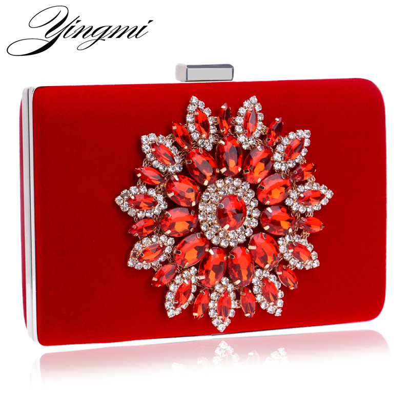YINGMI Women Evening Bags Rhinestones Flower Diamonds Luxurious Evening Bags For Wedding Party Diamonds Evening  Bags For Party