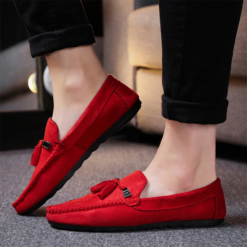 New Men's Breathable Walking Shose Oudtoor Comfortable Soft Shoes Flats Male Students Black Red Non-Slip Date Shoes Footwears 5