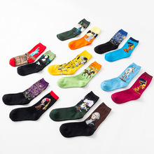 4 Pair/set Retro Personality Long Socks Funny Happy Marvel Socks World Art Famous Painting Male Sock