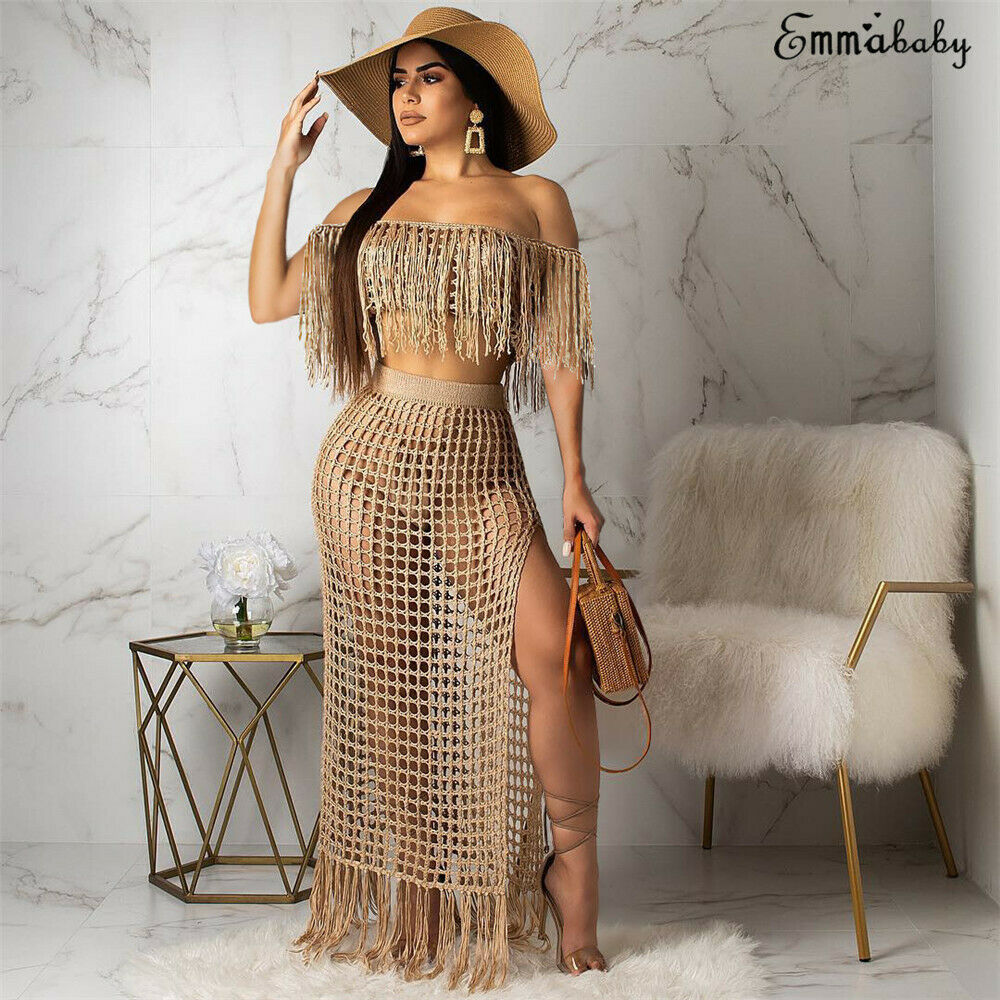 <font><b>2019</b></font> Womens Off Shoulder Cover up See-through Hollow Sleeveless Tassel Summer Bathing Suit Solid <font><b>Bikinis</b></font> 2Pcs Swimwear Swimsuit image