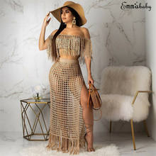 2019 Womens Off Shoulder Cover up See-through Hollow Sleeveless Tassel Summer Bathing Suit Solid Bikinis 2Pcs Swimwear Swimsuit(China)
