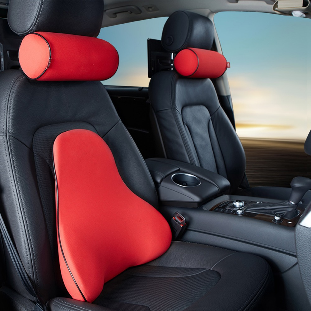 Baoc lumbar support car seat back cushion auto car neck pillow headrest cushion cylindric pillow breathable fabric 2in1 red in seat supports from