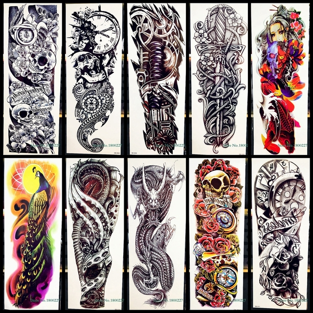 d3d8db83c Waterproof Full Arm Tattoo Sticker Rose Clock Skull Sword Machine Tatoo  Body Leg Art For Men Women Fake Temporary Tattoo Sticker