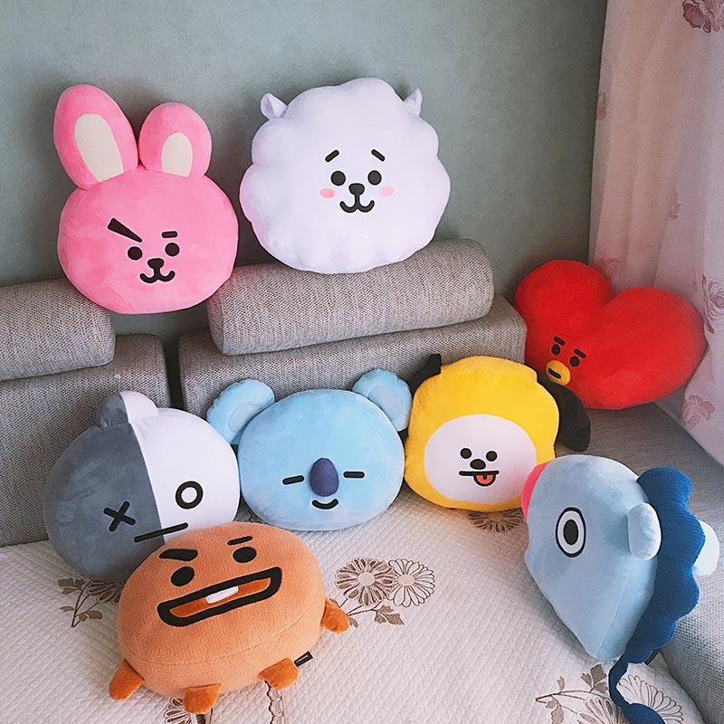35cm Original BTS BT21 Plush Pillows Kpop Bangtan Boys Bt21 Warm Bolster TATA VAN COOKY KOYA RJ Cushion Dolls birthday present