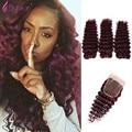 Burgundy Indian Deep Wave With Closure Virgin Hair Curly Deep Ocean Wave 99j Human Hair Weave Wet And Wavy 3 Bundles
