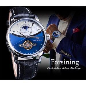 Image 3 - Forsining relojes mecánicos automáticos clásicos para hombre, Tourbillon, de cuero genuino, de fase lunar azul, Masculino