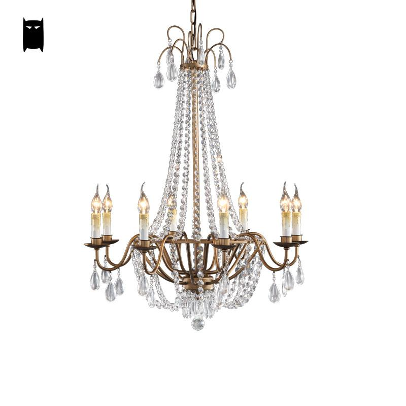 6/8 Arms K9 Crystal Gold Iron Chandelier Light Fixture Vintage Industrial Retro French European Hanging Lamp Lustre Living Room