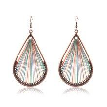New Bohemia Handmade Braid Drop-shaped Earrings Simple Multicolor Vintage Ethnic Hanging Dangle Drop for Women