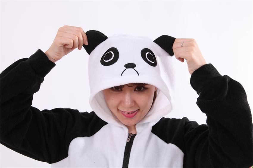 Warm winter Costumes Halloween Warm Cartoon Women's Panda Ear Tail Zip up Hoodie Sweatshirt Jacket Outerwear