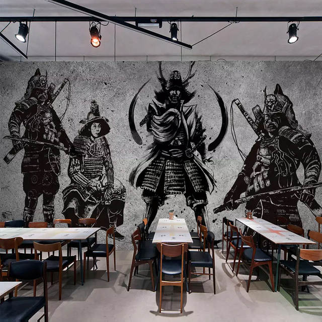 Custom Murals Wallpaper 3d Japanese Samurai Cement Wall Creative Art Wall Painting Restaurant Cafe Background Wall Covering 3 D