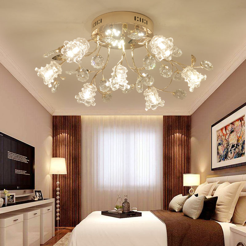 Luxury gold living room lamp LED round crystal ceiling Lights modern European style lamp Restaurant Restaurant ceiling lamps j best price modern fashion crystal lamp rectangle restaurant ceiling lamp sitting room partition lamps led ceiling light