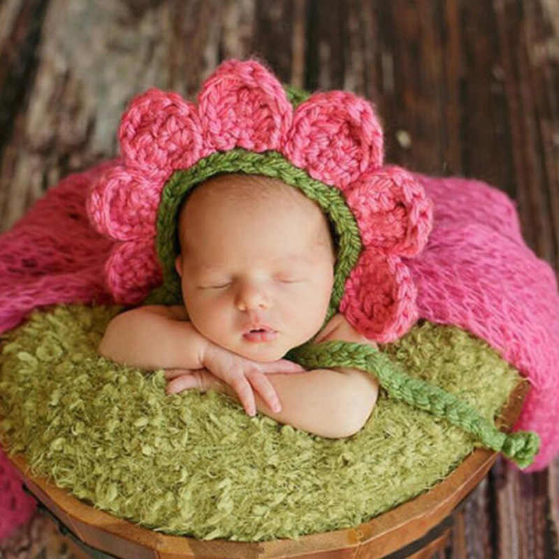 9eb88e8a2 Newborn Unisex Twin Baby Girl Boy Crochet Flower Hat Picture Photo Shoot  Props Infant Baby Cute Cap Photography Props Accessorie