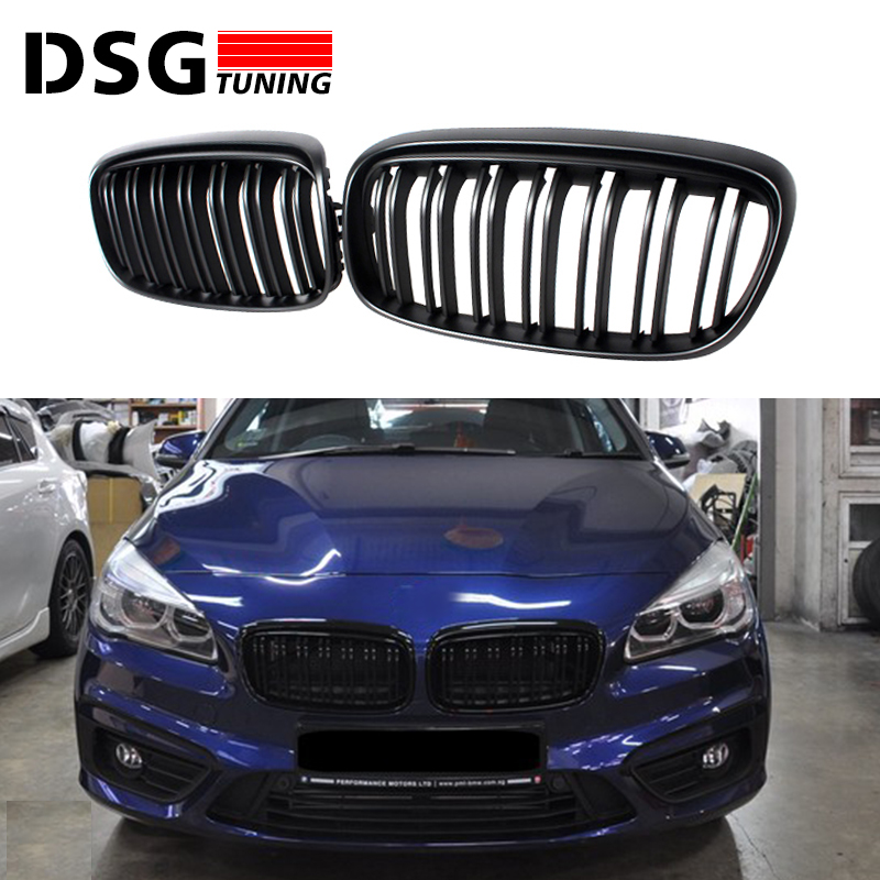 F45 black twin-slat abs front grill mesh for BMW 2 Series 5-seat Active Tourer & 7-seat F46 Gran Tourer front bumper grille active mesh tracksuit in black