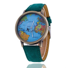 Fashion Global Travel By Plane Map Denim Fabric Band font b Watch b font Casual font