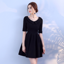 Bridemaid Dress Women Wedding Party Black Colour Knitted Mini  Back of Zipper A-Line
