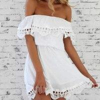 2017 Women S Fashion Ruffled White Summer Dress Ukraine Sexy Off The Shoulder Casual Beach Dresses